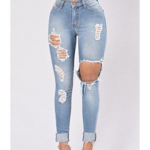 High-Waisted Ripped Denim Jeans